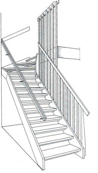Прямі дерев'яні одномаршові сходи з забіжними ступенями зверху