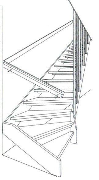 Прямі дерев'яні одномаршові сходи з забіжними ступенями знизу