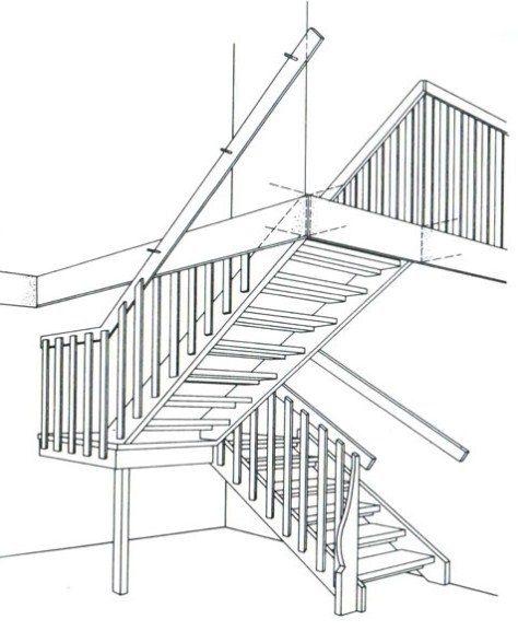 Одномаршові дерев'яні сходи з забіжними ступенями при повороті на 1/2