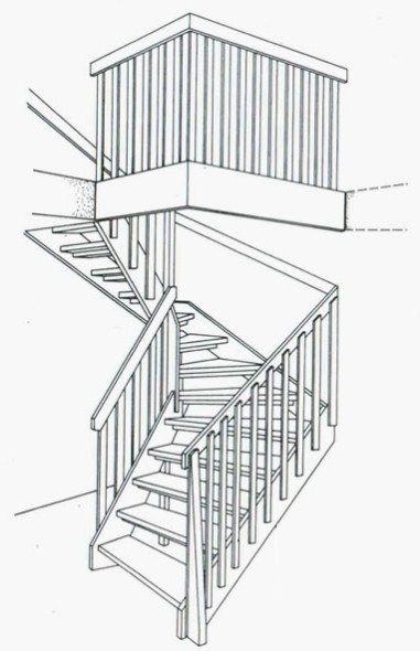Прямі дерев'яні двомаршеві сходи