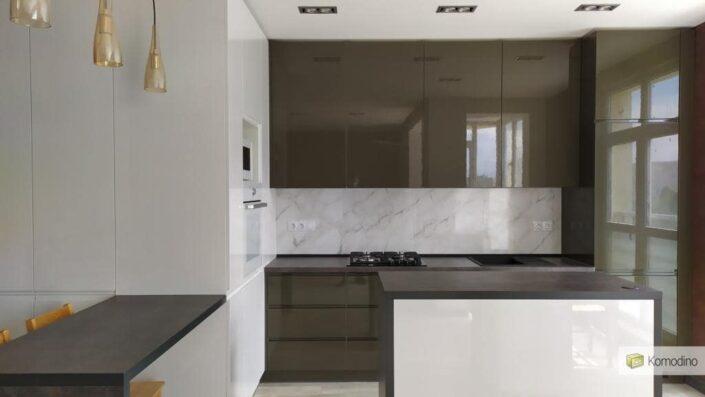 МДФ глянцева кухня без ручок